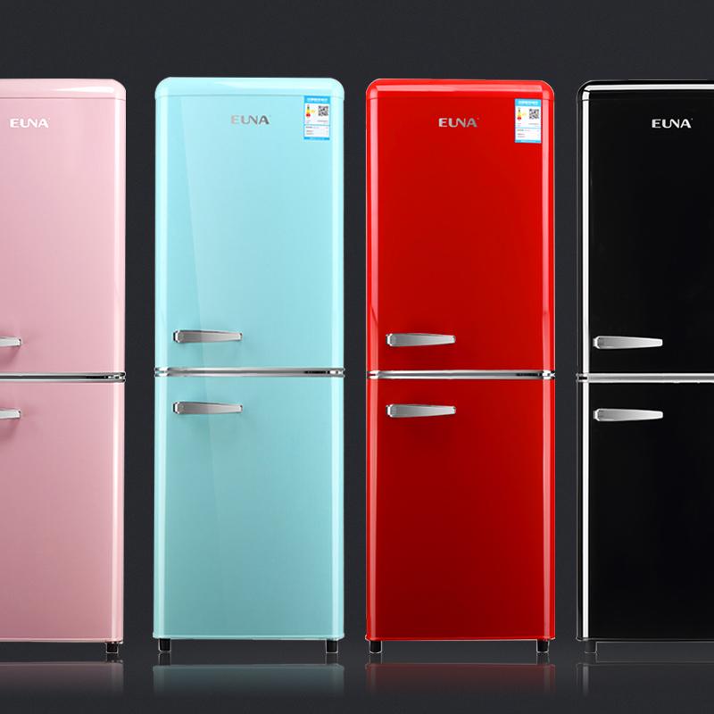 优诺超薄复古粉彩黑红色双门式办公室小型家用可冰箱公寓二人世界