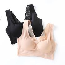日本冰丝无痕内衣女无钢圈薄款聚拢一片式运动蕾丝美背心式文胸罩