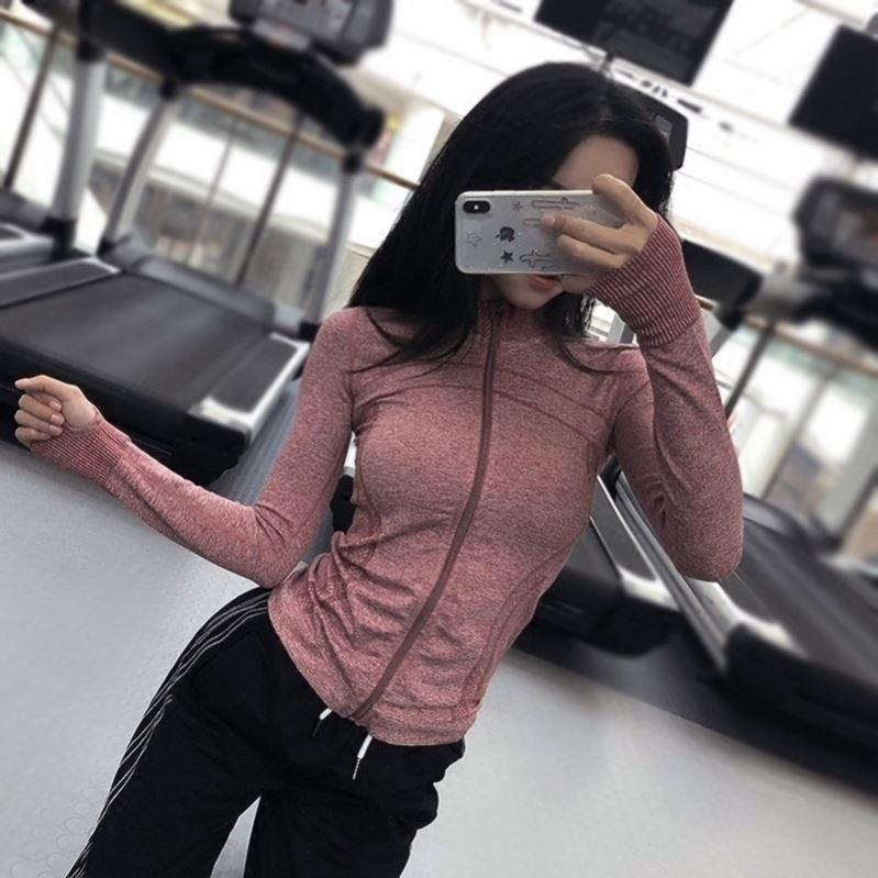 Enshi Nike high collar sports jacket womens long sleeve Yoga Fitness top tight running slim zipper top