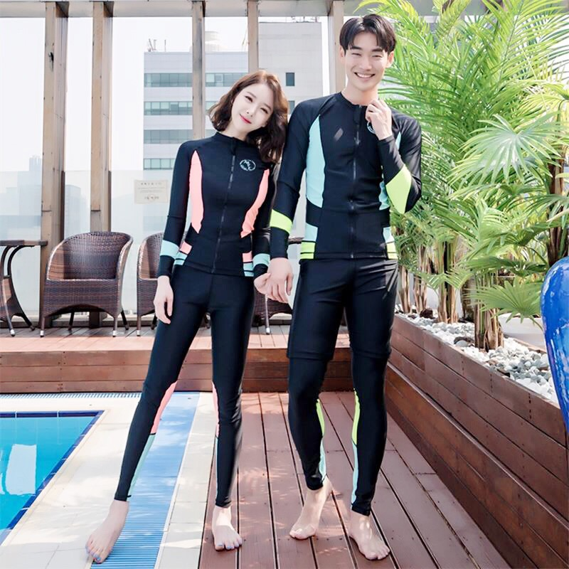 South Korea diving suit zipper split long sleeve trousers swimming suit sunscreen quick drying couple mens and womens jellyfish suit snorkeling suit
