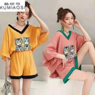 大码女装韩版套装学生夏季胖妹妹短袖宽松上衣时尚200斤两件套女