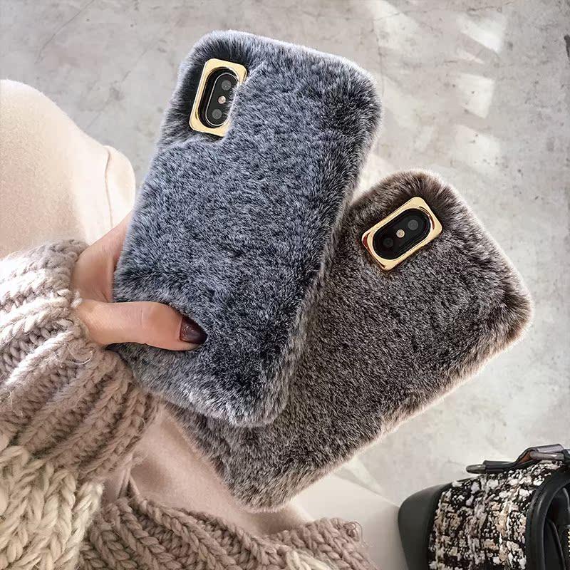中国风苹果iphonexsmax小米8vivox21华为6s78plus手机壳毛绒冬opp