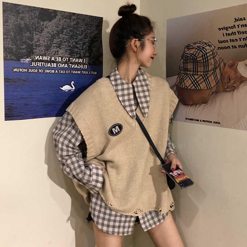 满10元可用10元优惠券秋装季韩版洋气港味格子长袖衬衫