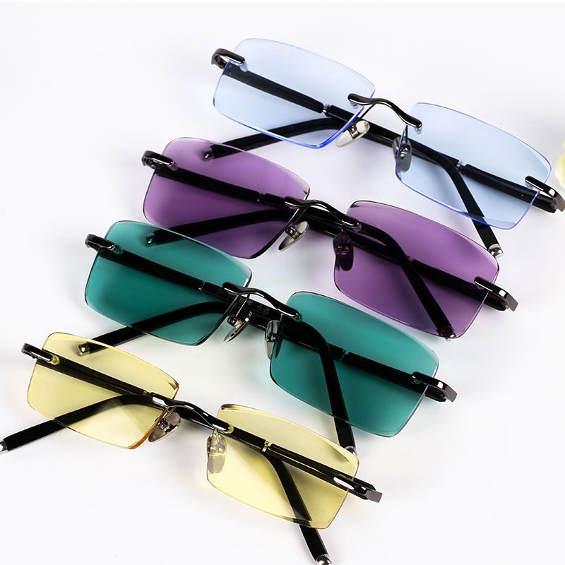 Pure natural crystal stone glasses high grade frameless Sunglasses Purple Yellow Green Blue Crystal Square couple mens model