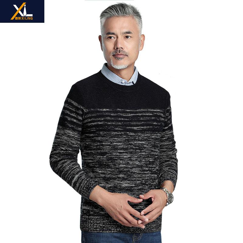 Autumn and winter mens Plaid warm shirt mens fake two knitwear sweater sweater sweater sweater youth dads