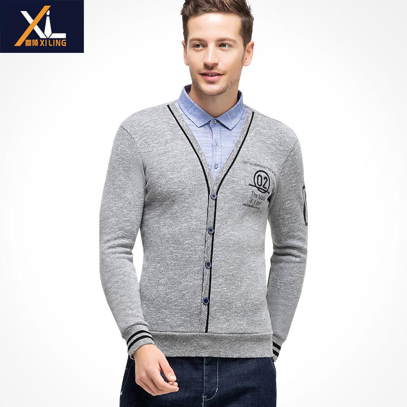 Mens autumn and winter Plush warm jacket shirt collar T-Shirt Top Long Sleeve fake two piece sweater