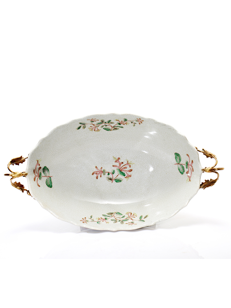 高档蒂高美居欧式陶瓷镶铜彩绘水果盘子摆设高档家居果盆摆件 83