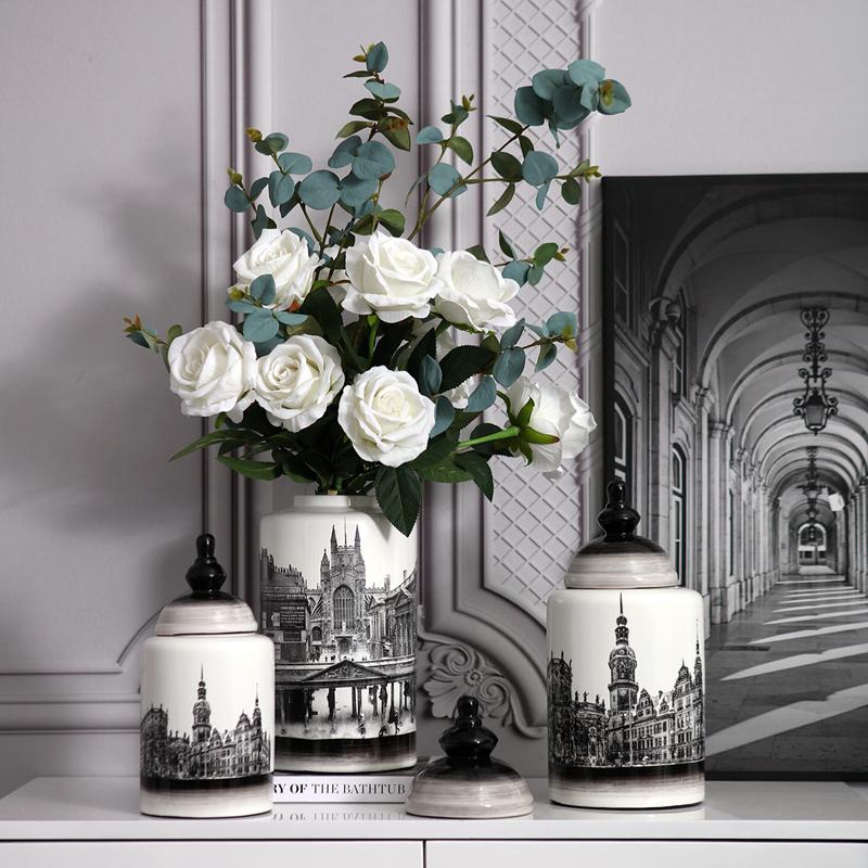 高档美式储物罐陶瓷花瓶新中式客厅家居电视柜玄关复古装饰品酒柜