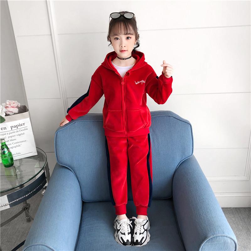 女童金丝绒2020新款秋冬装儿童韩版加绒加厚套装运动女孩两件套潮图片