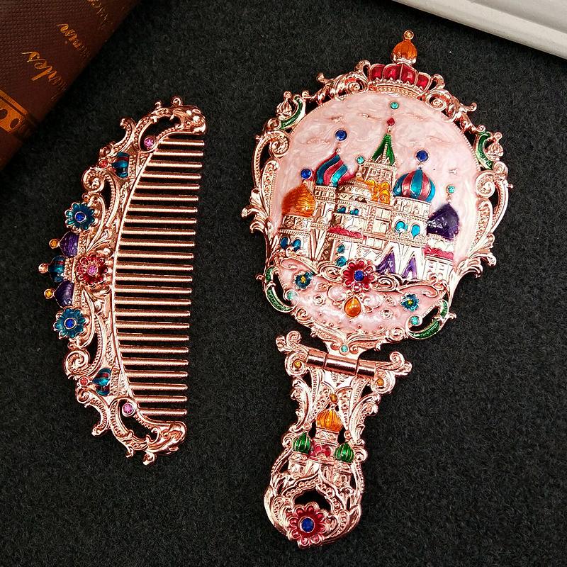 宮廷風の取っ手の小さい鏡は櫛のスーツの復古の美容院を持って携帯して化粧鏡の折り畳みの紋様の鏡を持って