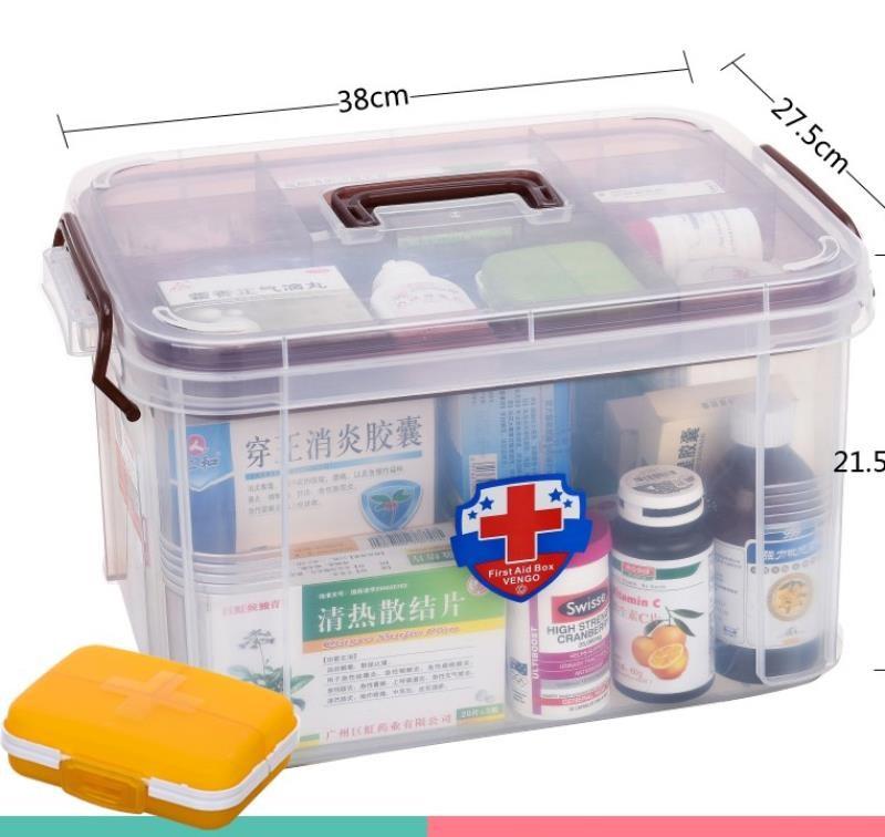 特大号药品收纳箱透明家庭多层医疗收纳盒塑料儿童手提出诊小药