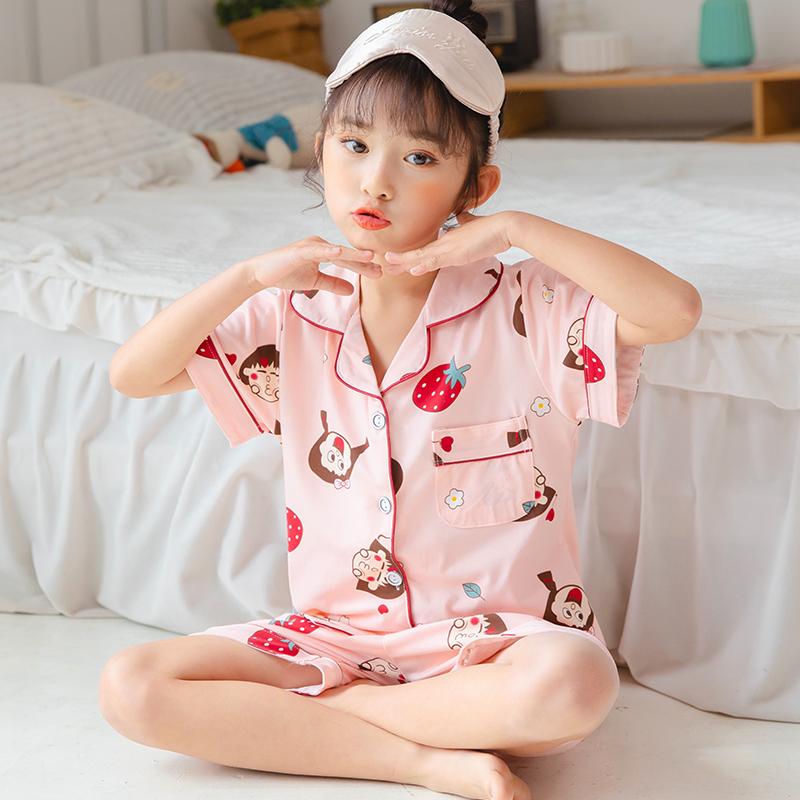 俏得美-(08批)夏季牛奶丝男女童装开衫短袖套装203-13#8-16码21元