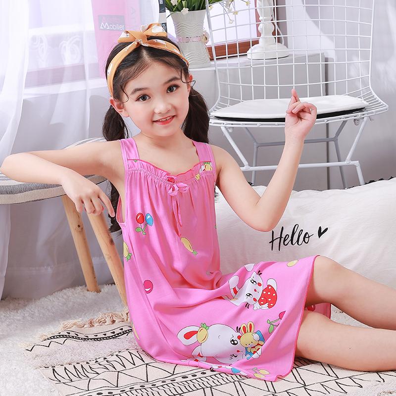 俏得美-夏季童装短袖睡裙休闲卡通童裙  棉绸面料205#8-18码12元