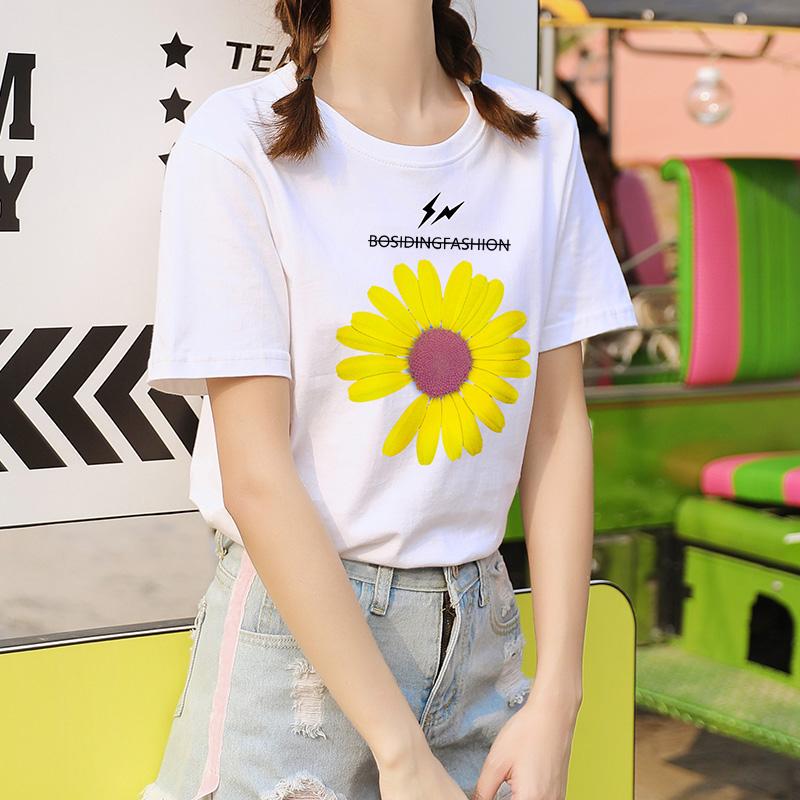 短袖女2020年夏季新款半袖纯棉白t恤ins潮韩版宽松小雏菊夏装体恤