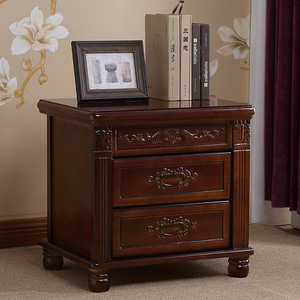现代实木中式仿古雕花床头柜整装家用床边储物柜胡桃海棠色收纳柜