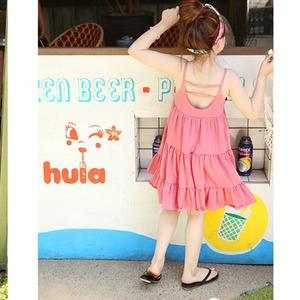 女童连衣裙儿童夏装新款纯棉露背吊带背心裙子宝宝海边度假公主裙