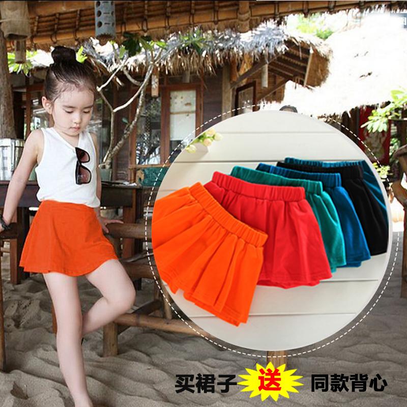 Девочки хлопок юбка 217 летом ребенок для предотвращения задирается. дикий юбка-брюки приморский песчаный пляж юбка юбка