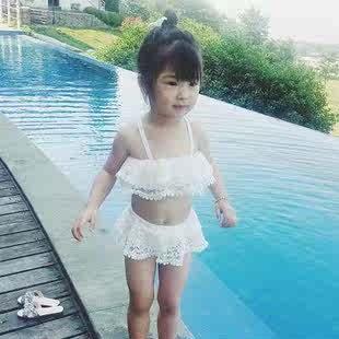 女童泳裝分體兩件套裝2018新款韓版女寶公主蕾絲吊帶比基尼泳衣潮