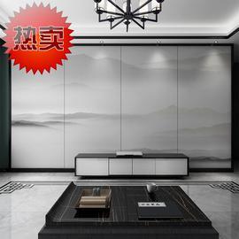 新中式水墨山水背景墙硬包轻奢沙发客厅卧室床头板软包电视墙硬包