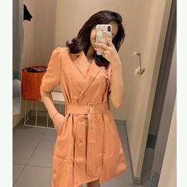 网红子晴西装连衣裙女2020夏新款短袖裙子法式高腰气质显瘦智熏裙图片