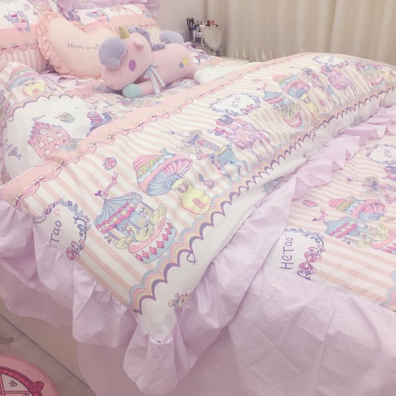 【限量返场】ins风纯棉粉紫色花边马戏团床裙少女心四件套加大 棉