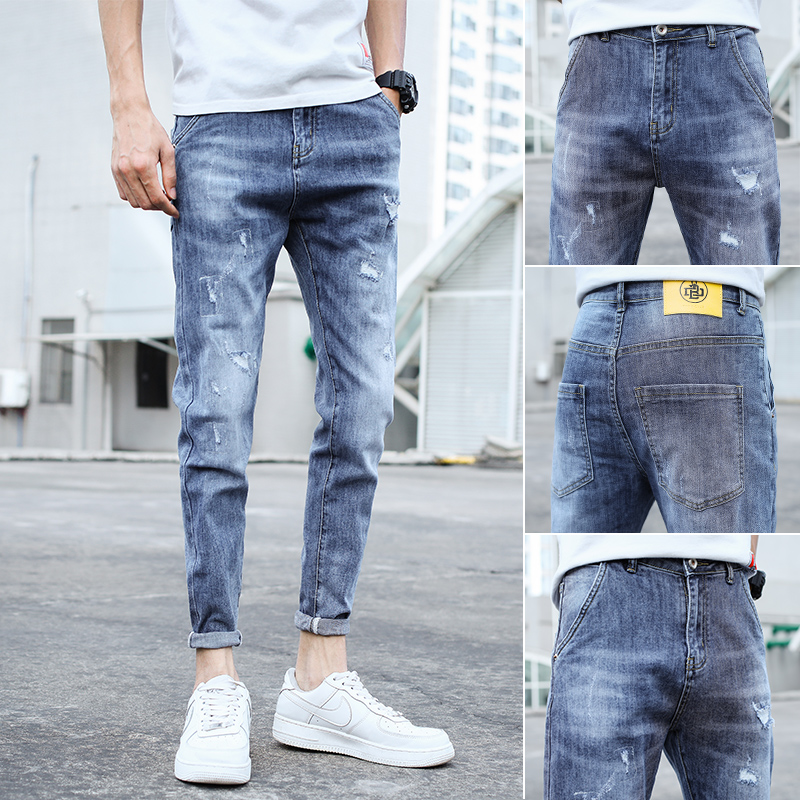 Light solid color with breathable little feet mens jeans hole mens hole nostalgic pocket thin