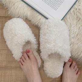冬季日韩ins简约风时尚软底舒适保暖室内棉拖毛绒绒防滑毛拖鞋女