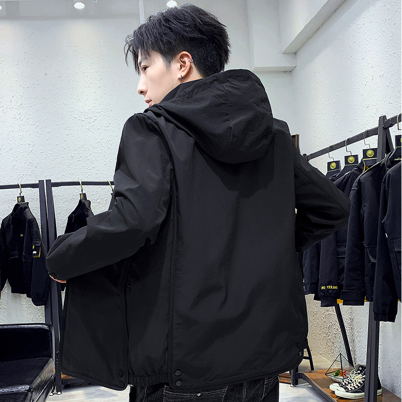 Black casual jacket mens spring and autumn 2020 new trend loose hooded solid color Korean Baseball Jacket trend