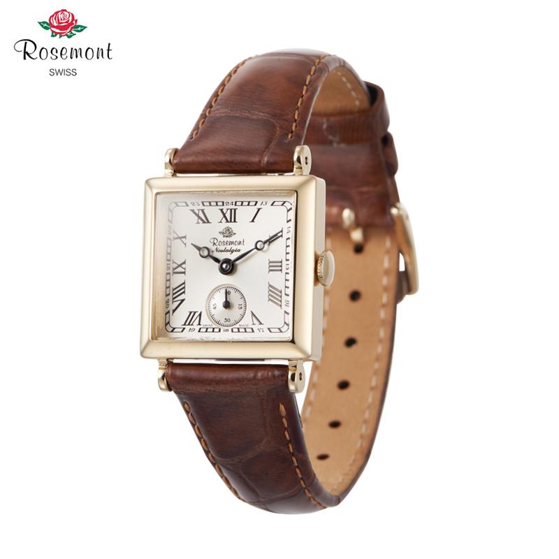スイスRosemontロスモントの腕時計ローズレトロなブラウンの小さな正方形の時計N 011 YWRDLB