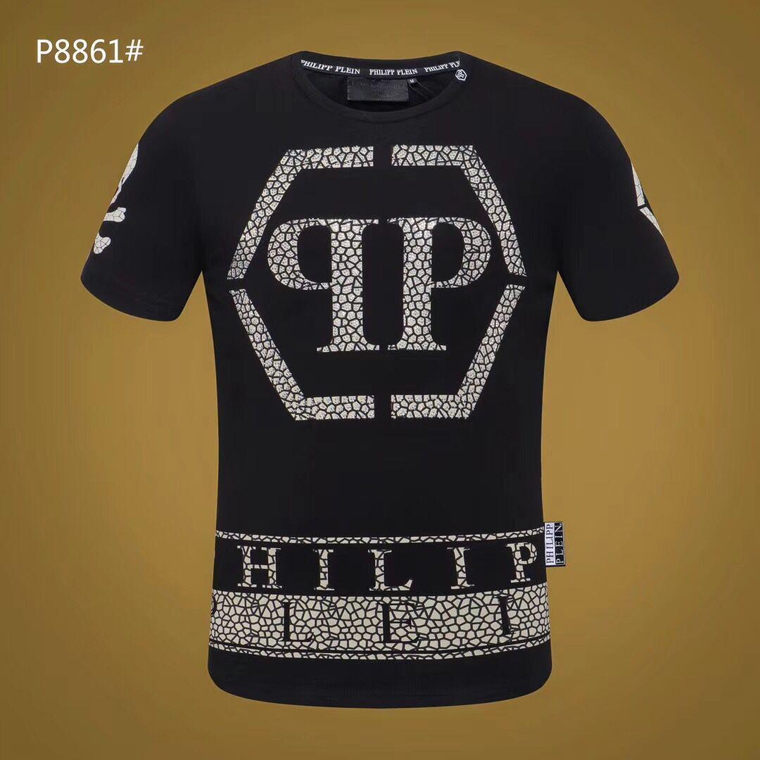 新款短袖T恤男装字母掉漆喷溅潮流烫钻时尚圆领短袖夏天潮shirt