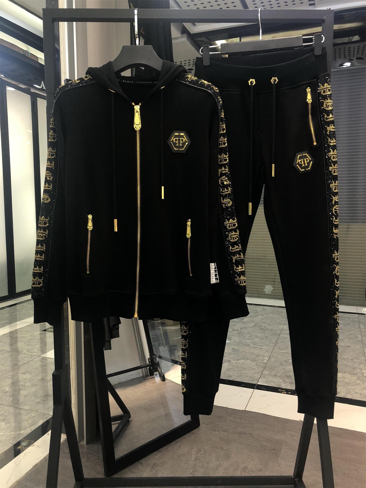 新款欧美卫衣套装男字母烫金钻潮流连帽开衫卫裤2件套运动套装男