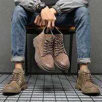 网红马丁靴男高帮冬季短靴加绒保暖棉鞋男中帮靴子英伦真皮工装鞋