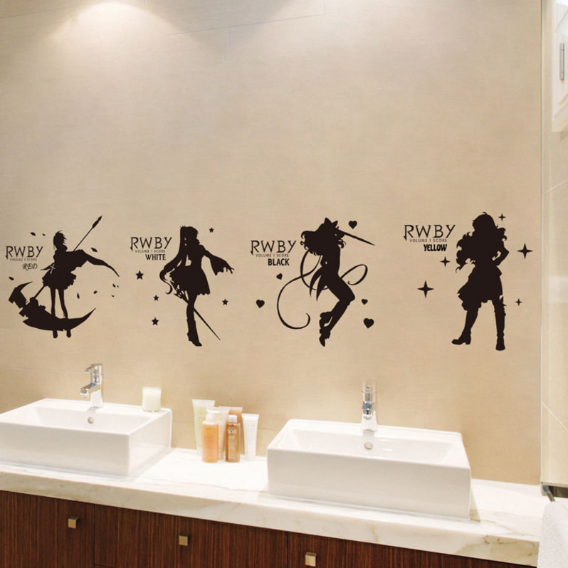 Rwby animation cartoon decoration wall stickers two dimensional dormitory stickers in addition to waterproof stickers trunk Trolley Case stickers