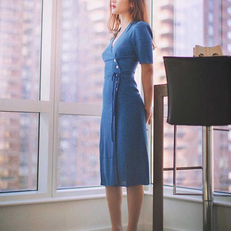春夏自制/原版Rouje同款21新法式碎花茶歇裙显瘦v领连衣裙长多色