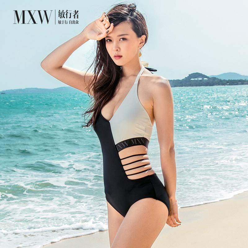 敏行者连体泳衣女比基尼小胸聚拢修身性感美背露腰遮肚显瘦保守