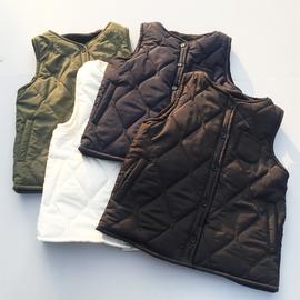 原單外貿女款內層搖粒絨絎縫棉馬甲棉外套無袖棉坎肩圖片