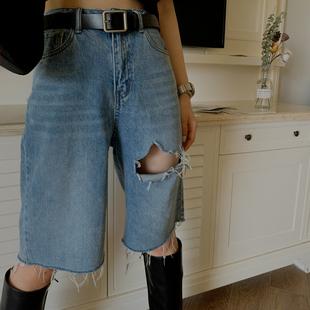 MOERSHOP破洞短褲五分牛仔褲女夏高腰顯瘦寬鬆直筒港味ins潮中褲