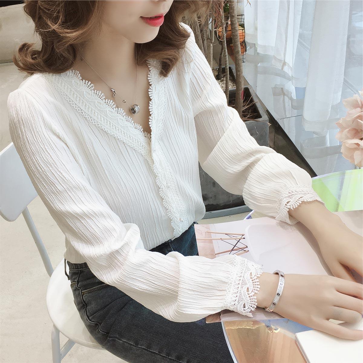 秋季女装雪纺衫长袖V领学生T恤很仙的上衣超仙白色蕾丝边洋气小衫(非品牌)