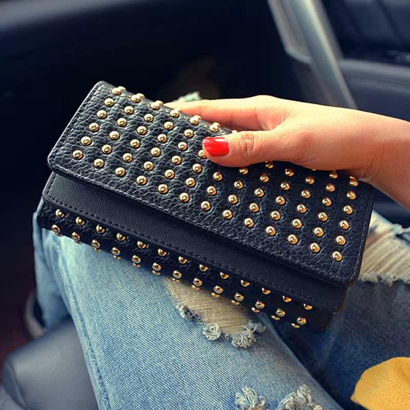 Fashion brand big rivet Double Cover Wallet 2016 punk style rivet double cover handbag long three fold Wallet