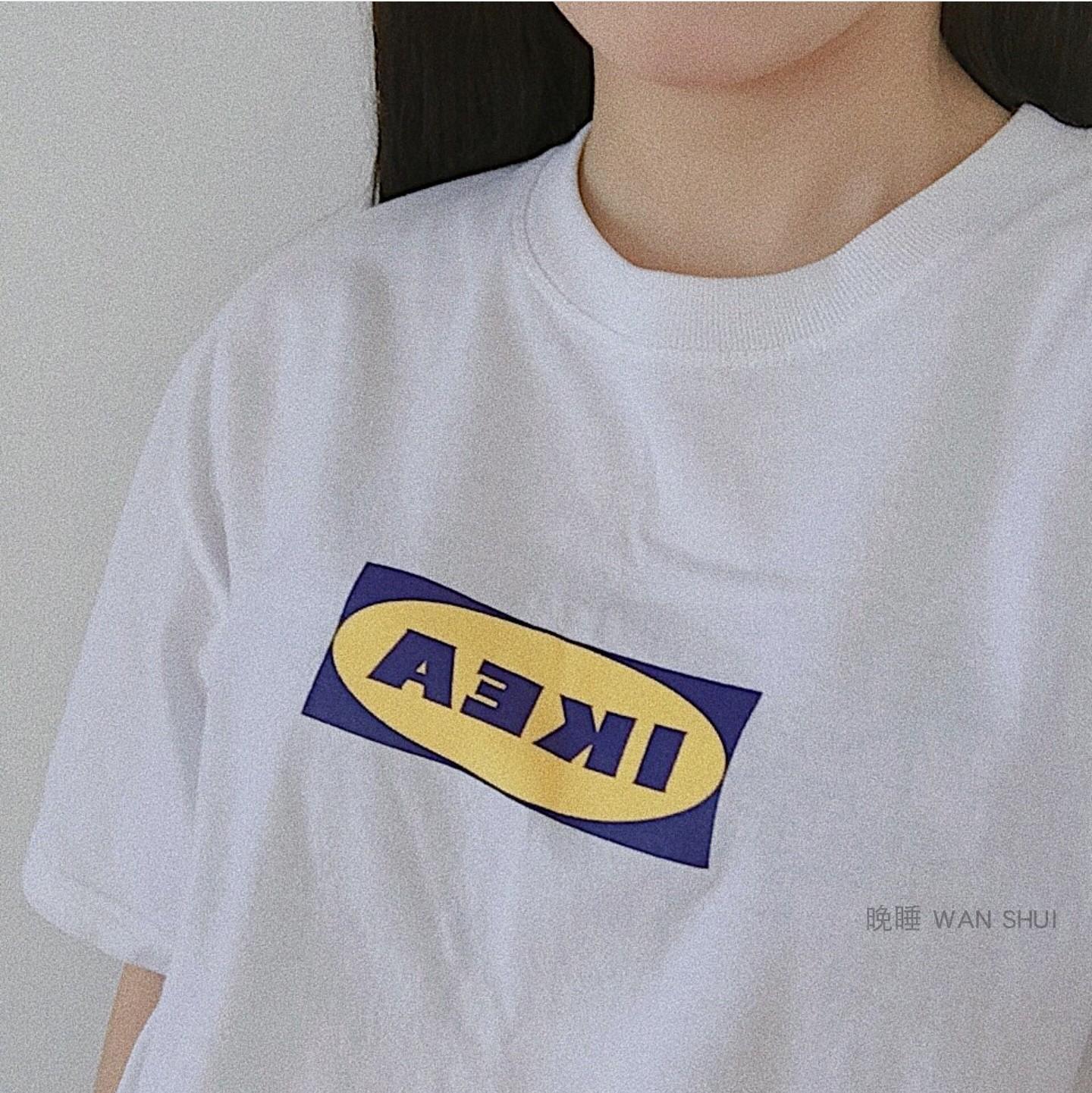 晚睡/实拍自制高INS同款超火品质IKEA短袖宜家T恤休闲宽松tee男女