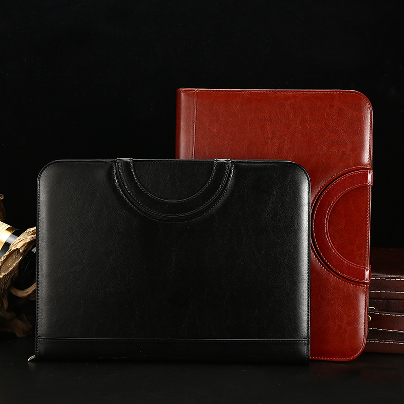 A4 multifunctional loose leaf manager carrying calculator portable zipper bag folder leather business notebook customization