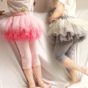 夏季薄款女童假两件七分网纱蓬蓬裙裤5儿童7分宝宝纯棉五分打底裤