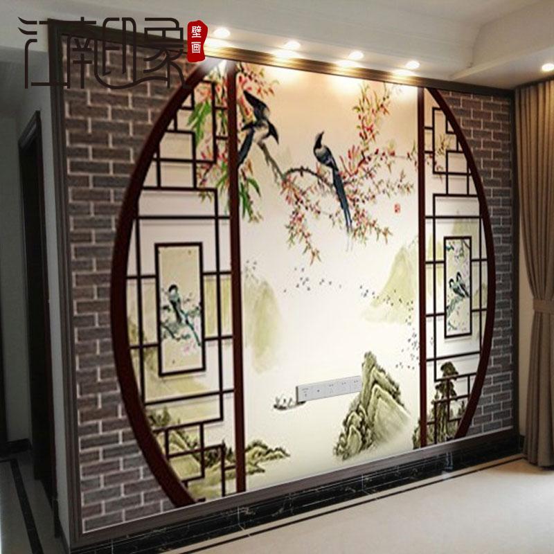电视背景墙壁纸 定制大型壁画中式客厅卧室墙纸布3d立体屏风花鸟
