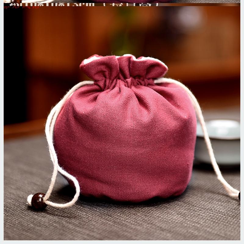 加厚夹棉建盏袋棉麻日式抽绳小布袋 茶杯礼品包装首饰袋l