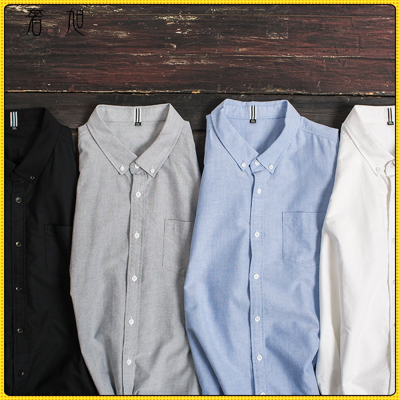 Large shirt mens long sleeve fat man loose cotton Oxford plus fat casual mens shirt solid color