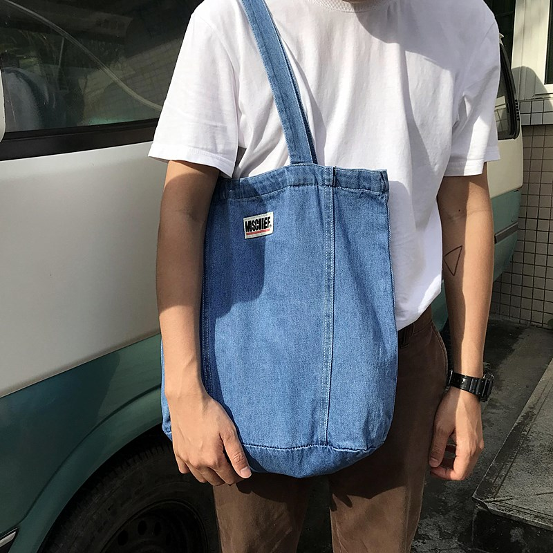 Denim bag Japanese style canvas wash large capacity used light blue denim one shoulder handbag for boys and girls environmental protection