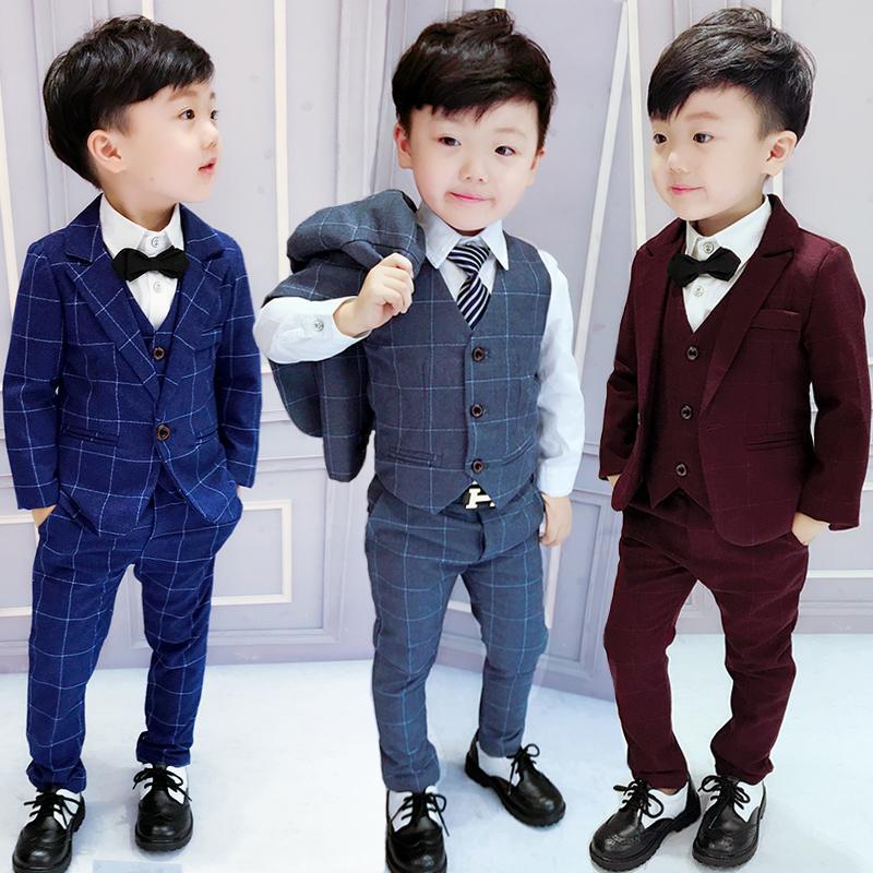 男童礼服英伦风西服宝宝小西装儿童小孩三件套春秋款男孩花童套装