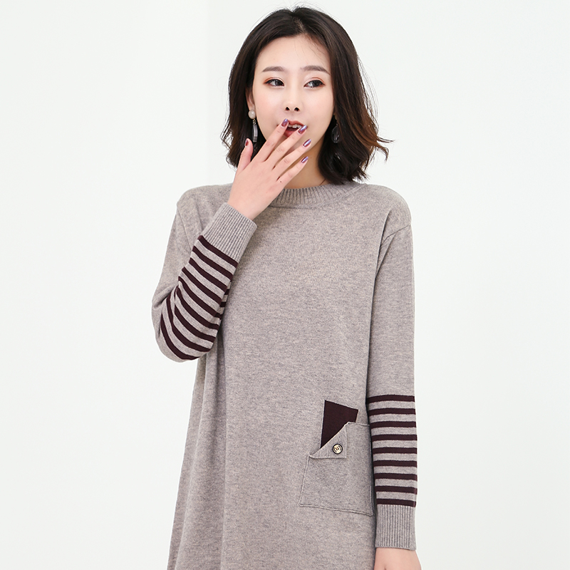 Long and medium length Pullover loose Korean T-shirt in autumn / winter 2019