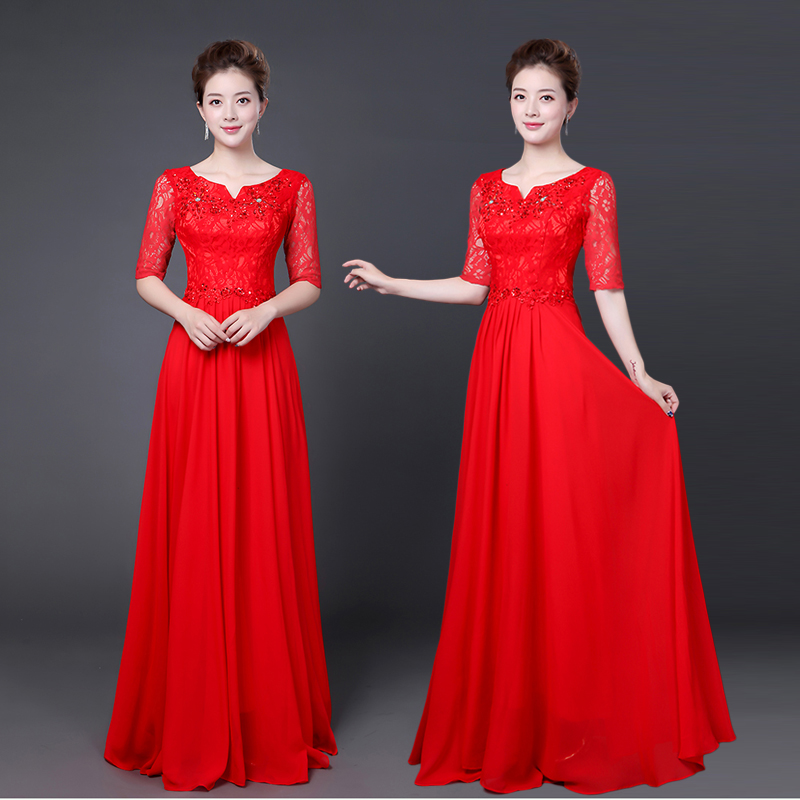 新款大合唱演出服女长裙中老年合唱团服装舞蹈舞台服主持人礼服
