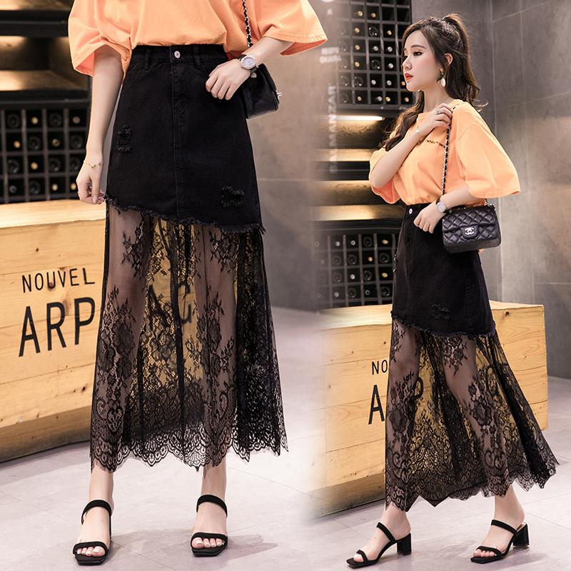 2021 spring and summer new European and American hip mesh fashion long skirt womens high waist denim oblique cut lace splicing skirt